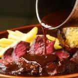 ◇おすすめ◇サガリ肉ステーキ トリュフ風味のデミソース
