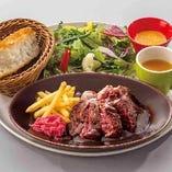 【ランチ】サガリ肉のステーキ トリュフ風味のデミソースプレート