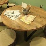 角のない丸テーブルなのでお子さまにも安心の作りです。