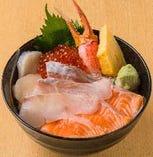 ひらめ盛り北海丼