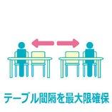 〈3〉ソーシャルディスタンスを確保する、席配置にしております