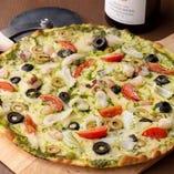 海の幸のピザ