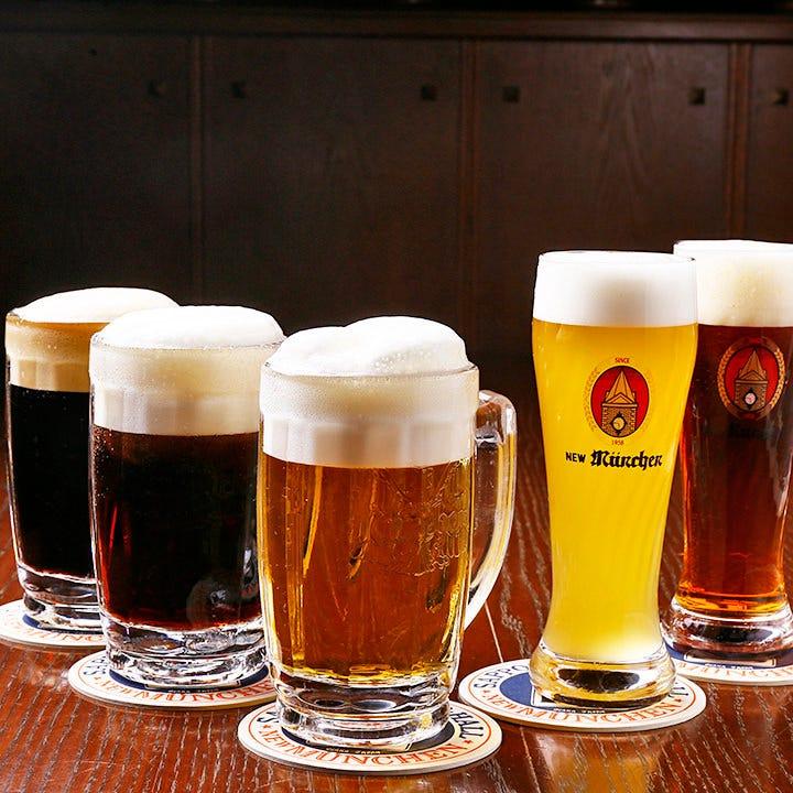 プレミアムビールの定番ヱビスや、港神戸ヴァイツェンもご用意!