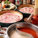 上質なお肉や新鮮な野菜を、赤白2種類のスープでお召し上がりいただく「火鍋しゃぶ」