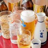 ビール、日本酒、ワイン…等々、多彩なドリンクが飲み放題!