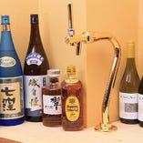 店主セレクトの日本酒、焼酎やワインも◎