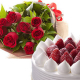 花束&ホールケーキ。サプライズにご利用ください。