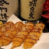 黒豚串カツ(ソース、味噌、おろしポン酢)