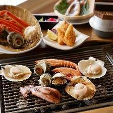 新鮮な海鮮をテーブルで浜焼き!