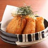 『山芋とレンコンのモチモチ揚げ』当店でしか食べられない新食感のおすすめ品。