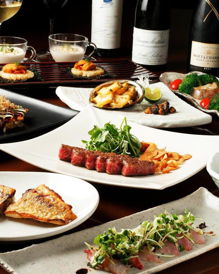 和牛・産直野菜・鮮魚… 豪華食材を使用した鉄板焼きコース