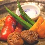 野菜の藁焼き盛り合わせ