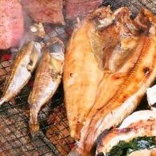 新鮮な魚介をその場で焼き上げ!