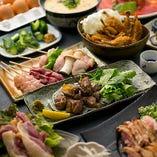 地鶏、美山の子守唄、厳選食材が満載【厳選食材を楽しむDXコース】