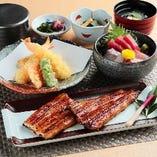 お造りや天麩羅と共に国産鰻をお楽しみいただけます。