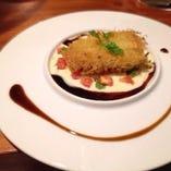 生ハムとチーズを挟み カダイフで巻いた鮮魚の揚げ焼き  ヴェルモット酒香るヴァンブランソース