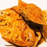 【パスタ】渡り蟹、ズワイガニのトマトクリームソース