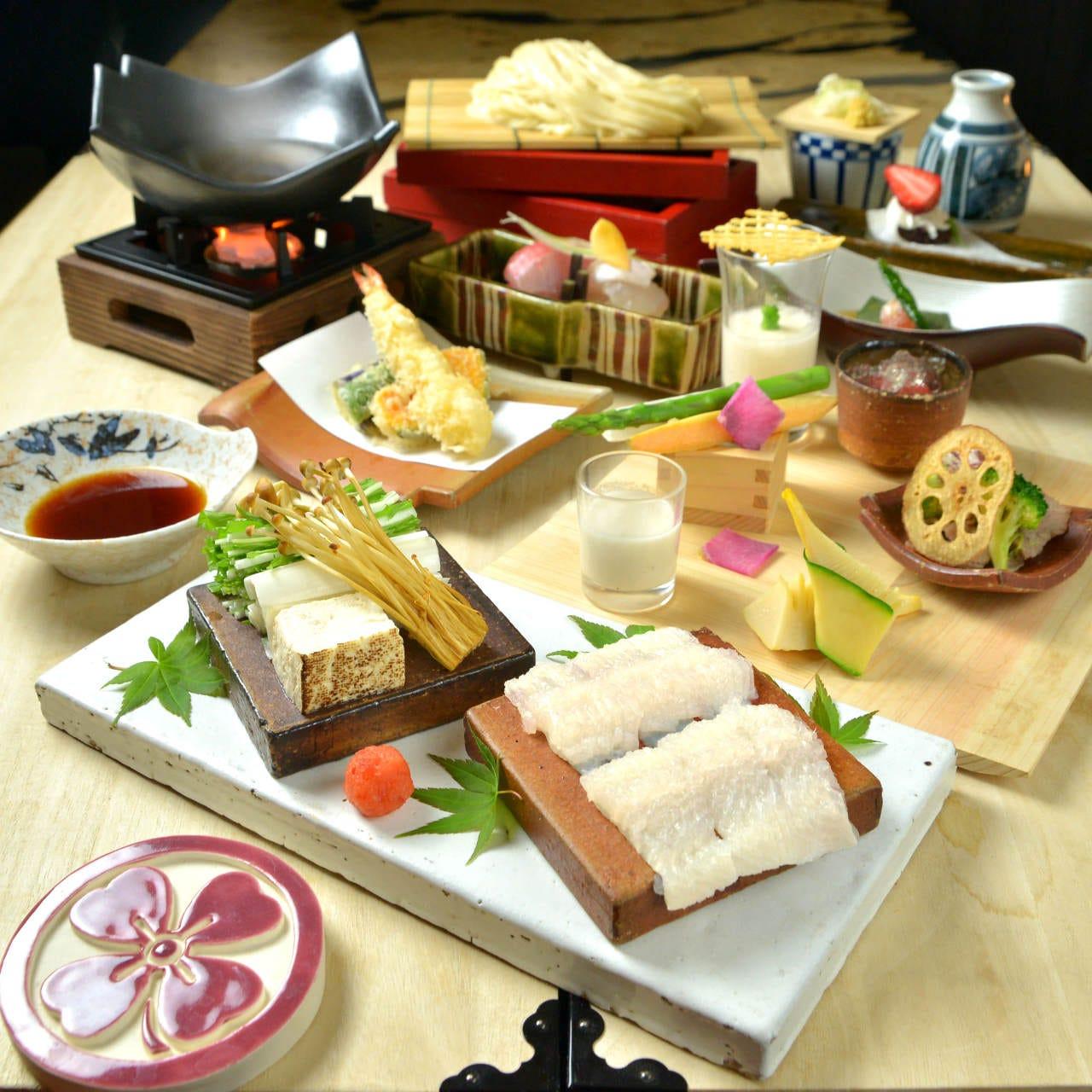 【定番♪■久露葉コース】 神楽坂お洒落な一軒家の季節和食や天ぷらうどん会席で特別な食事会を  5000円