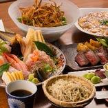 贅沢なお料理が8品入った飲み放題付6,000円のコースが様々なシーンでご満足いただいております。村上牛のステーキや、新潟県村上市の寝屋漁港直送の鮮魚を使用したお刺身、熟練の技で揚げる天ぷら、本格中華などボリュームもたっぷり。旬な地酒の10種飲み放題が付いて大変お得です