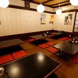 掘りごたつのお座敷席は、12〜24名様までなら個室宴会可能です