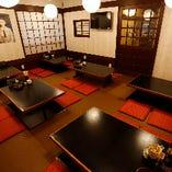 ゆったりくつろげる昭和レトロの掘りごたつ座敷席(2〜4名様×6卓)