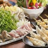 【秋田比内地鶏きりたんぽ鍋コース】<全9品>飲み放題付6,000円(税込) 秋田比内地鶏ときりたんぽ鍋を楽しむコースです。