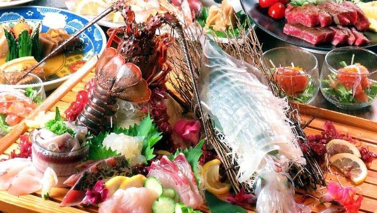 鮮度抜群なイカの活造りと旬の鮮魚盛りが楽しめるコースも◎
