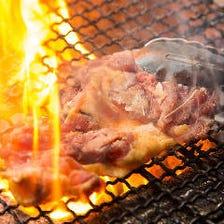 朝引き赤鶏の炭火焼を存分に味わう