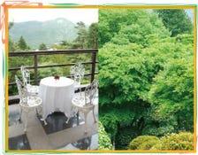 箱根の山が目の前に広がるレストラン