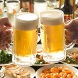 皇朝のアルコール飲み放題は「生ビール」も飲み放題!!さらに!+500円でプレミアム飲み放題に変更可!
