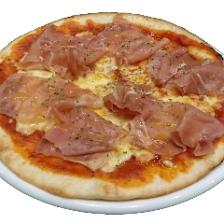 お店でカットした生ハムのピザ
