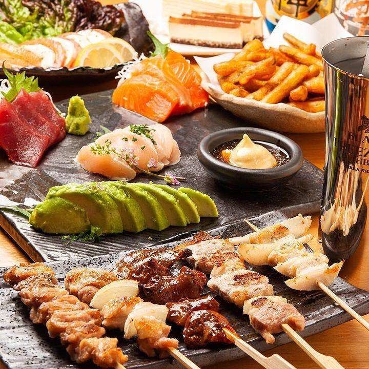 サラダや焼鳥、お刺身に揚げ物にお鍋まで贅沢なコースです!
