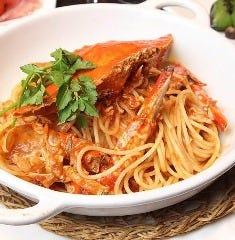1匹丸ごと使った渡り蟹のトマトソーススパゲッティ