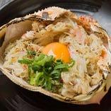 ズワイ蟹の甲羅味噌焼き