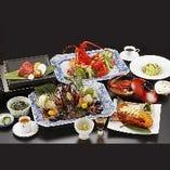 【喝采(かっさい)】伊勢海老の活造り・焼物・牛フィレ石板焼きを含む全12品