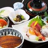【人気のランチメニュー】うな丼と刺身膳1600円