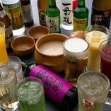 コースには2時間の飲み放題をお付けできます。ビールやマッコリなど様々な種類のドリンクをご用意。