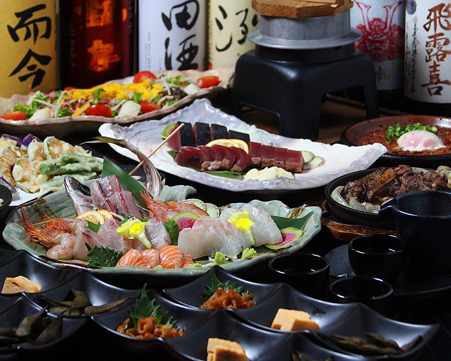 【2時間飲み放題付】刺身姿造り×旬菜の天ぷら×藁焼きコース<全8品>