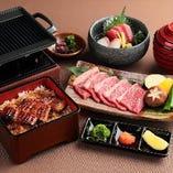 ミニ鰻重と牛鉄板焼き定食