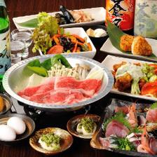 【味わい】A5ランク仙台牛すき焼き、お刺身4点盛りなど料理9品+2H飲み放題 !3,800円⇒3,500円