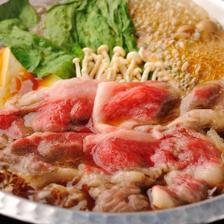 【旬菜】A5ランク仙台牛すき焼き、お刺身3点盛りなど料理8品+エビスも2H飲み放題コース 3,600円⇒3,500円