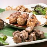 宴会コースの焼きものは、串に刺さないスタイルで食べやすい♪