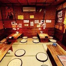 広々座敷席で、ゆったり【和】の宴会