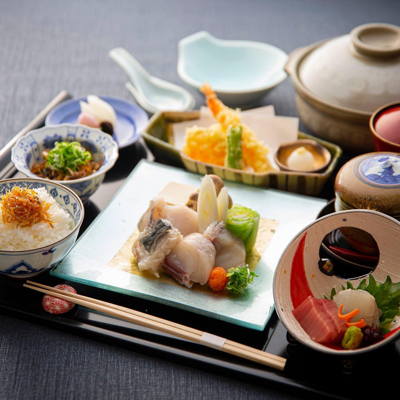 味・質・量、すべて納得の、お昼限定会席・御膳をご用意