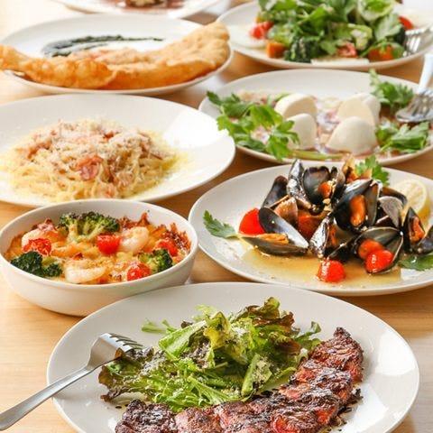 【※GO TO EATならば】ピッツァフリッタ&パスタ&前菜4品&デザート全7品3000円(税抜)