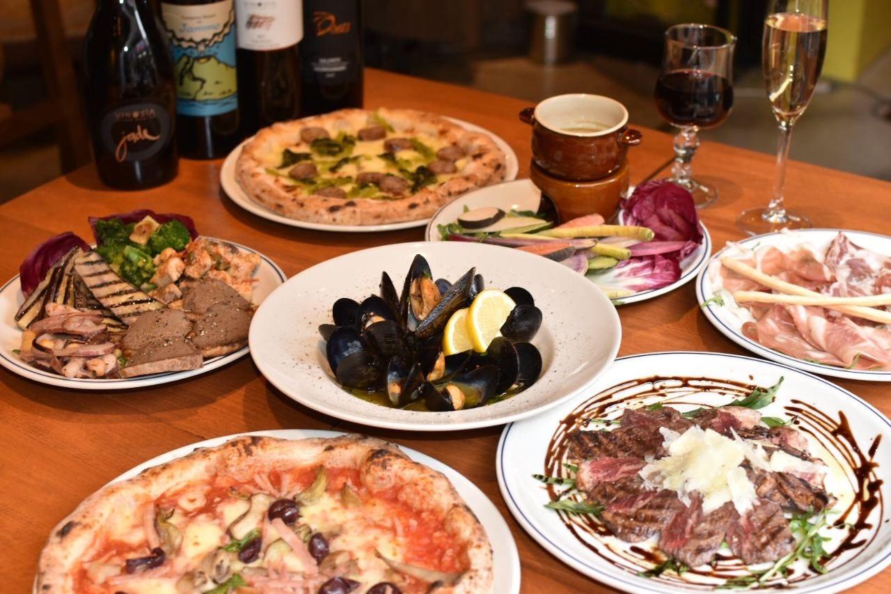 ≪150分飲み放題≫選べる2種のピッツァ+お肉料理★人気の定番コースB★8品¥5,000