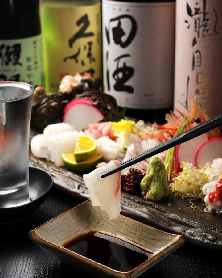 新鮮なお造りご用意しています おすすめの地酒、日本酒とどうぞ