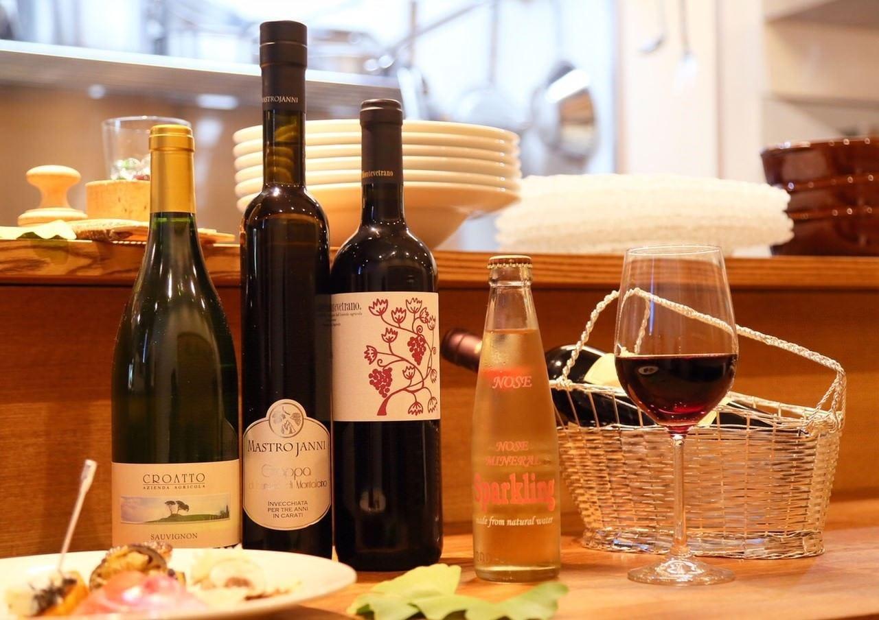 種類豊富なワインと拘りのドリンク