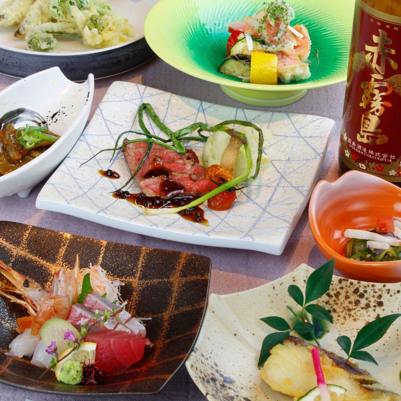 10月菜なみずき会席(赤海老/あこう/赤牛等)全7品飲放5500円