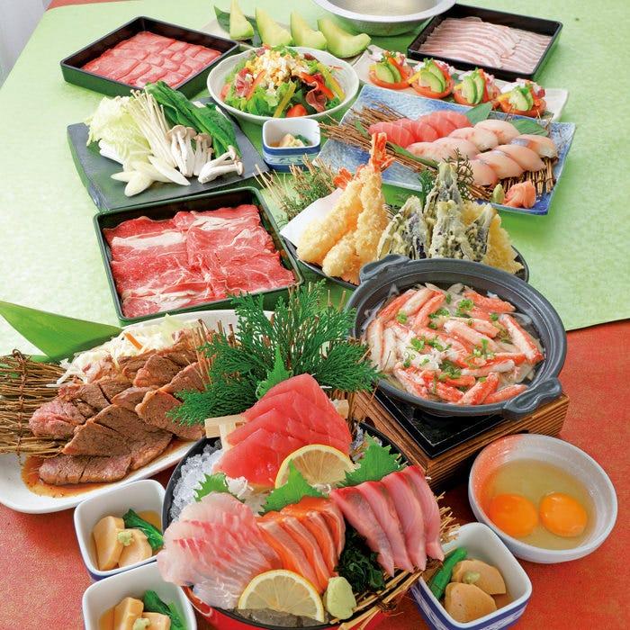 【華(はな)の宴】刺身、握り寿司、天ぷらなどに、選べる料理も付いた贅沢なコース